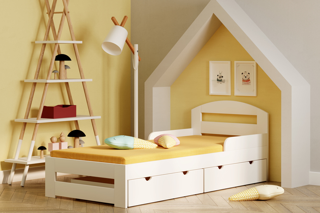 Single bed for kids with drawers