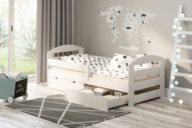 Single bed for children with drawers