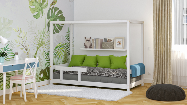 beds from solid wood, scandinavian beds, beds for children, single bed, ecological beds, eco beds, beds in Scandinavian style, house bed, bed in the shape of a house, bed with a canopy