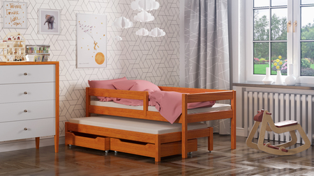 Bed with extra bed for children and drawers