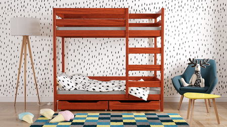 solid wood bunk bed with drawers