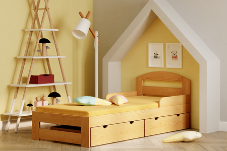 Single bed for kid with drawers