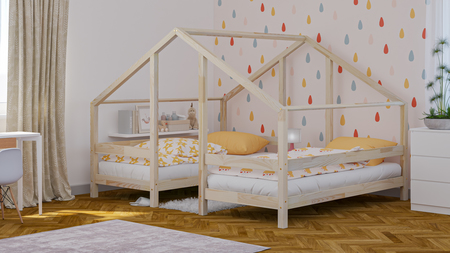 beds from solid wood, scandinavian beds, beds for children, single bed, ecological beds, eco beds, beds in Scandinavian style, house bed, bed in the shape of a house, double bed, bed for siblings