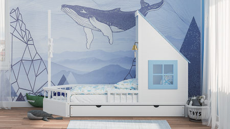 single bed, childrens bed, childrens room, bed, kids bed, boad shaped bed, sailor