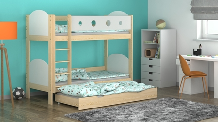bunk bed with extra bed