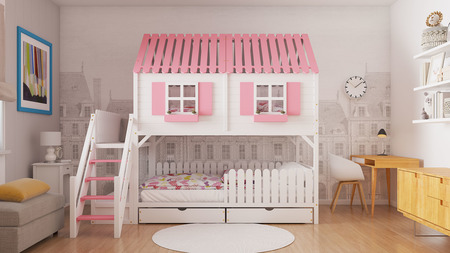 Bunk bed, children's bed, house shaped bed, bunk beds, kid bed.
